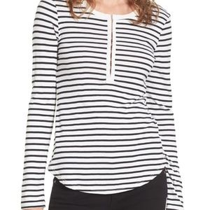 Splendid Venice Stripe Henley Long Sleeve